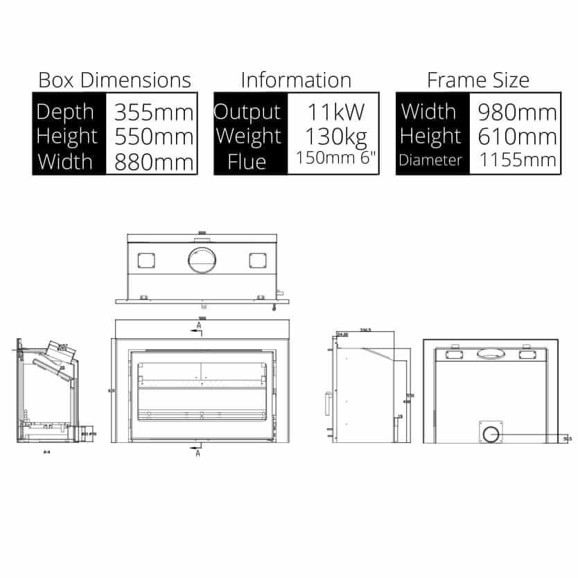 Clare 11kw Stove Dimensions