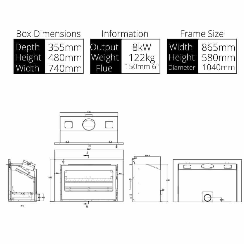 clare 8 stove dimensions