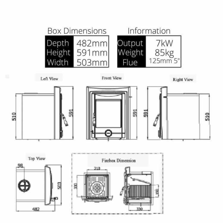 Pollmore 7kw Stove Dimensions